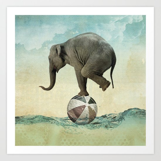 Elephant at Sea Art Print