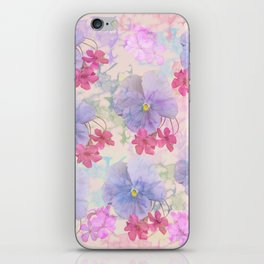 Painterly purple pansies and pink Oxalis iPhone Skin