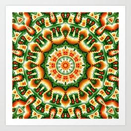 Green And Orange Abstract Art Print