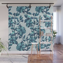 Morning Glories in Blue Wall Mural