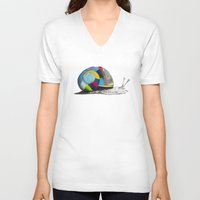 snail V-neck T-shirts featuring Snail by Sary and Saff