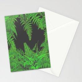 DECORATIVE CHARCOAL GREY GREEN FERNS GARDEN ART Stationery Cards