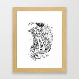 girl and dragon Framed Art Print