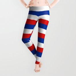 blue white red stripes Leggings