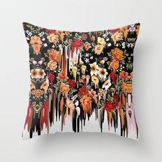 Free Falling, melting floral pattern Throw Pillow