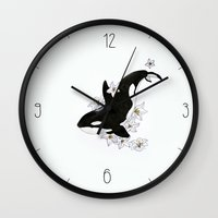 killer whale Wall Clocks featuring Killer Whale by Celia Libelle