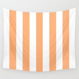 Very light tangelo - solid color - white vertical lines pattern Wall Tapestry