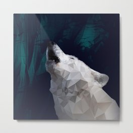Low-Poly Wolf Howling Metal Print