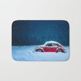 Winter Storm Red Car Bath Mat