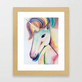 Rainbow Unicorn Watercolour Framed Art Print