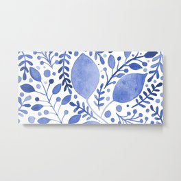 Branches and leaves - blue Metal Print