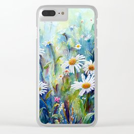 Watercolor Daisy Field Clear iPhone Case