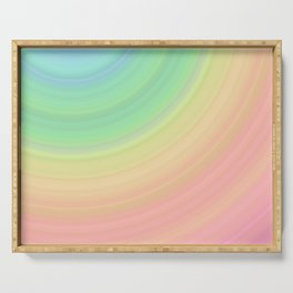 Abstract Pastel Rainbow I Cute abstract circles, gradient pattern Serving Tray