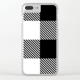 Black White Buffalo Plaid with Twill Clear iPhone Case