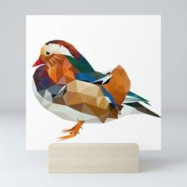 Geometric mandarin duck Mini Art Print