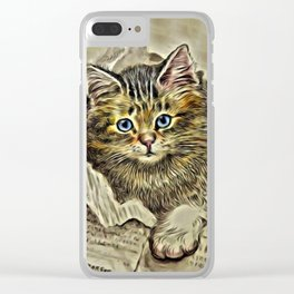VINTAGE KITTEN DRAWING PRINT Clear iPhone Case