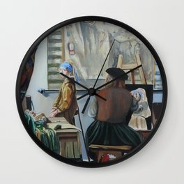 Vermeer paints 'The girl with a pearl earring' Wall Clock