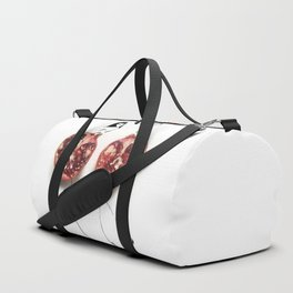 Edible Ensembles: Purple Pom Duffle Bag
