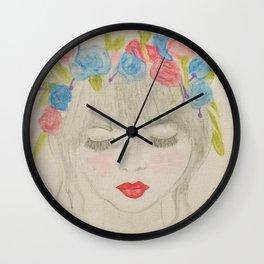 Sad flower girl Wall Clock
