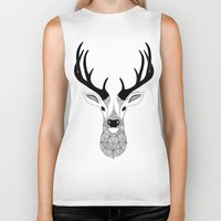 deer Biker Tanks featuring Deer by Art & Be