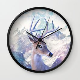 Fairy deer in the mountains Wall Clock