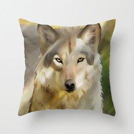 Wolf in spring sun Throw Pillow