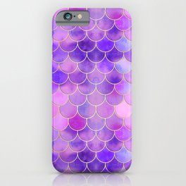 Ultra Violet & Gold Mermaid Scale Pattern iPhone Case