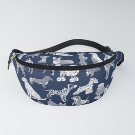 Geometric sweet wet noses // navy blue background white dogs Fanny Pack