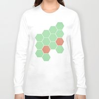 honeycomb Long Sleeve T-shirts featuring Mint Honeycomb by Cassia Beck