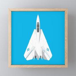 F-14 Tomcat Jet Aircraft - Cyan Framed Mini Art Print