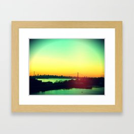 sunset in NYC Framed Art Print