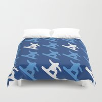 snowboard Duvet Covers featuring snowboard boy by AmyFrancesDesigns