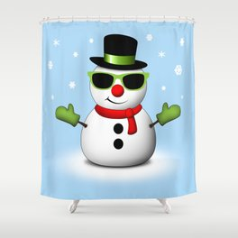 Cool Snowman with Shades and Adorable Smirk Shower Curtain