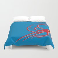 squid Duvet Covers featuring Squid by Mark Walker