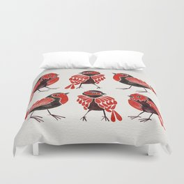 Finches – Red & Black Palette Duvet Cover