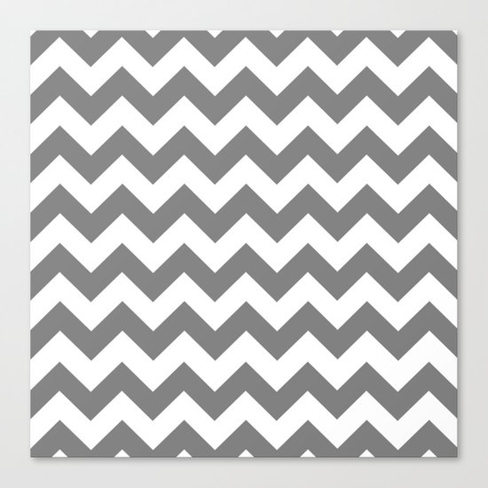 Chevron (Gray/White) Canvas Print