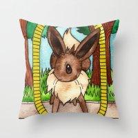 eevee Throw Pillows featuring Eeveevolution Series - Eevee by Jazmine Phillips