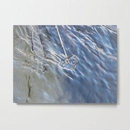 Blue Ice Heart Metal Print