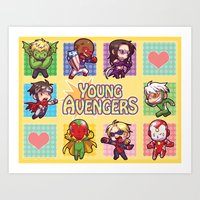 young avengers Art Prints featuring Young Avengers by waste-cabin