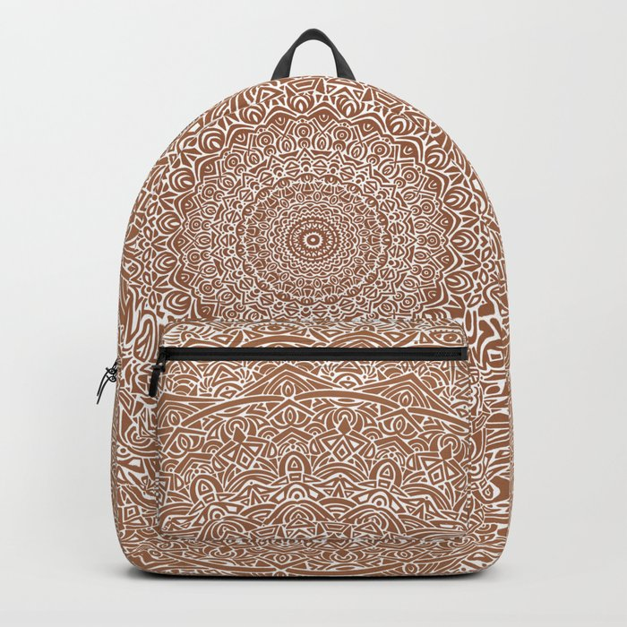 The Most Detailed Intricate Mandala (Brown Tan) Maze Zentangle Hand Drawn Popular Trending Backpack