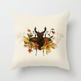 Blooming Beetle Throw Pillow