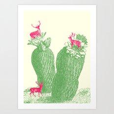 Deer cactus Art Print