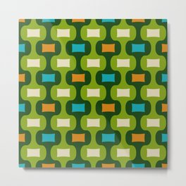 Colorful Mid Century Modern Ogee Pattern 350 Metal Print