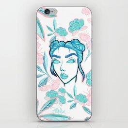 Blue Flower Girl iPhone Skin