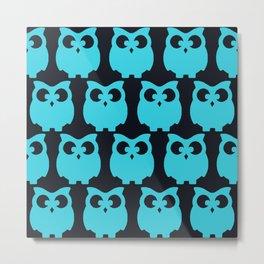 Owls Turquoise Metal Print