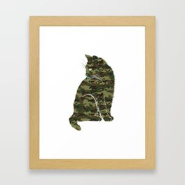 Cute Cat Kitten T-Shirt - Meow Cats Camouflage Tee Framed Art Print