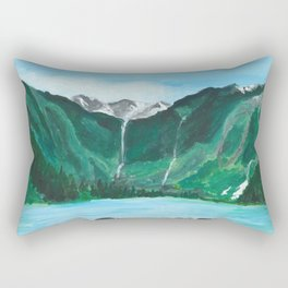 Avalanche Lake Mountain Waterfall Art Rectangular Pillow