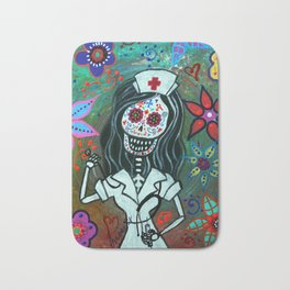 MY FAVORITE NURSE MEXICAN DAY OF THE DEAD PAINTING Bath Mat