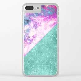 Sparkly Teal Glitter Girly Pink Starry Nebula Geo Clear iPhone Case