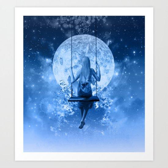 night in blue Art Print